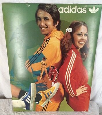 Vintage Adidas Shoes Store Display Advertisement Cardboard Poster Track Jackets