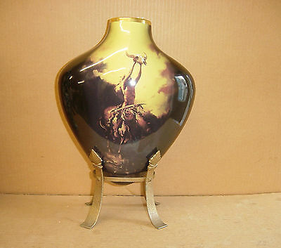 Stunning Large Art Deco Indian Ghost Rider Arrowhead Stand Vase