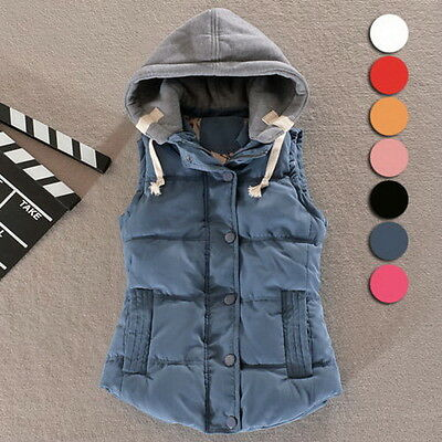 New Women's Winter Vest Padded Warm Hooded Jacket Slim Waistcoat Cotton Coat M
