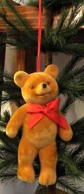 5 Inch-NEW-Cute-Golden Brown Teddy Bear Flocked Christmas-Ornament/Gift-Germany