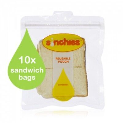 New Sinchies Sandwich Bags Pouch 10 Pack Lunch Kids Zip lock Reusable Childrens