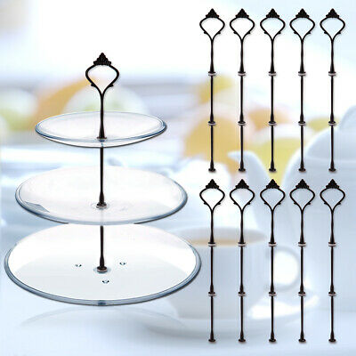 10pcs 3 Tier Vintage Crown Wedding Cake Plate Tiered Stand Handle DIY Fitting