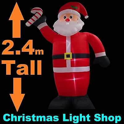 BIG 2.4m Tall Inflatable Santa Candy Cane Christmas Outdoor Air Power LED Lights