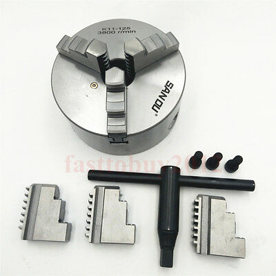 """5"""" 125mm 3 Jaw Lathe Chuck Self-Centering Hardened Steel for CNC Drilling"""