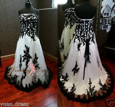 Gothic Black and White Wedding Dresses 2015 Custom Made Plus Size Bridal Gowns