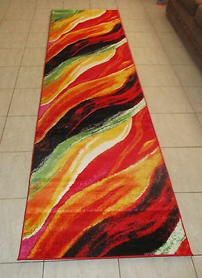 New Colorful Modern Heatset Floor Hallway Runner 80X300Cm