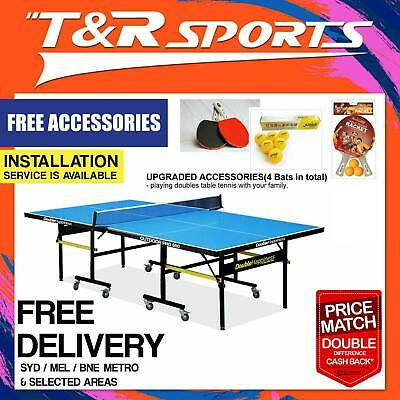 Pro Size 19Mm Table Tennis/ping Pong Table; Black Surface; Free Bats,balls & Net