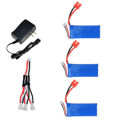 3x7.4V 2000mAh Lipo Battery+Power Charger For Syma X8W X8C X8G RC Quadcopter US