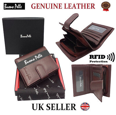 RFID SAFE Designer Mens Leather Wallet Contactless Card Blocking ID Protection