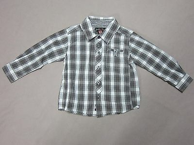 Sovereign Code Little Boys Mason White Gray Plaid Button Up Shirt Size 24 Months