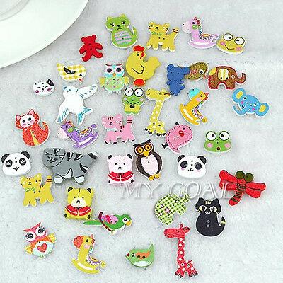 100Pcs Mixed Animal 2 Holes Wooden Buttons Sewing Craft Scrapbooking DIY Amazing