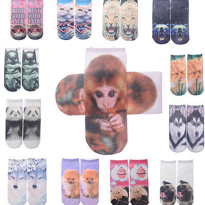 Unisex Women 3D Fashion Printed Animal Casual Socks Monkey Low Cut Ankle Socks