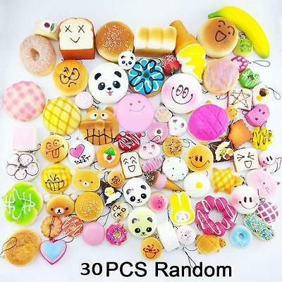 30Pcs Cute Squishy Lot Toast Bread Smell Cell Phone Strap Jumbo Panda Bun Set BY
