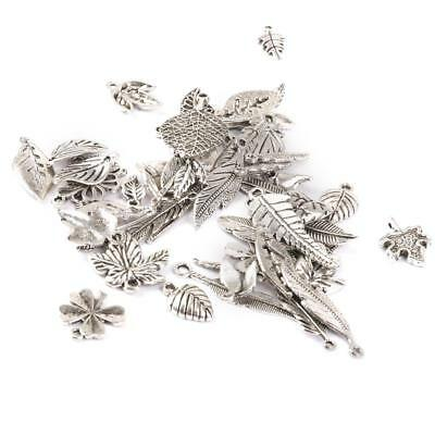 50pcs Mixed Tibetan Silver Metal Leaves Charms Pendant Necklace DIY Jewelry