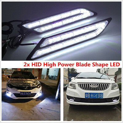 2x Car HID White LED Daytime Running Light DRL Fog Lamp Daylight Blade Shape