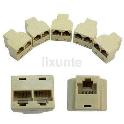 5Pcs 3 Sockets RJ45 6 LAN Ethernet Splitter Adapter Internet Connector Cable UK