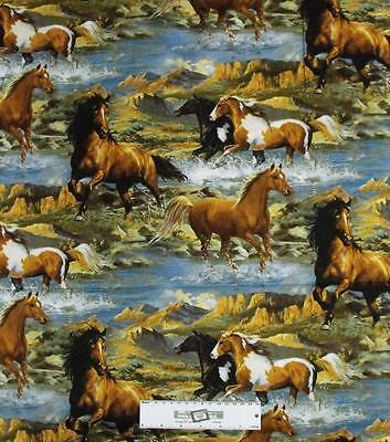 Patchwork Quilting Fabric WESTERN HORSES Allover Material Cotton FQ 50X55cm NEW