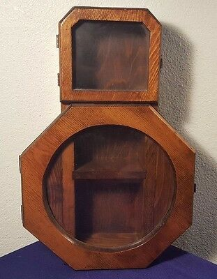 "Vintage maybe Antique 16"" Wood Miniatures Display Case Wall Mount Shelf Cabinet"