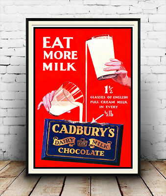 Eat more milk , Vintage Chocolate advertising Reproduction poster, Wall art.
