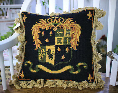 "14"" Golden French Acanthus Scroll Black Petit Point Needlepoint Pillow Cushion"