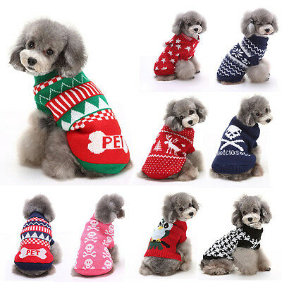 Dog Pet Puppy Warm Jumper Knit Sweater Clothes Knitwear Costume Coat Apparel