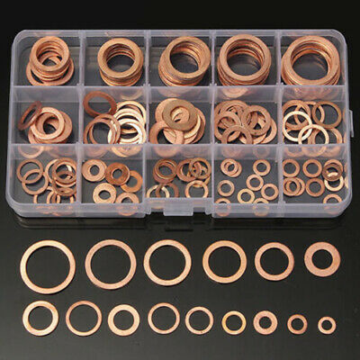150Pcs 15 Sizes Assorted Solid Copper Crush Washers Seal Flat Ring Set With Box