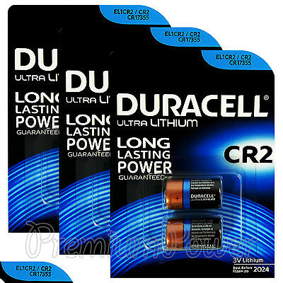 6 x Duracell Ultra Lithium CR2 3V batteries CR17355 EL1CR2 2 in Pack EXP:2024