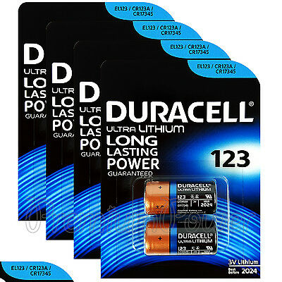 8 x Duracell Ultra Lithium CR123A 3V batteries CR17345 EL123 2 in Pack EXP:2024