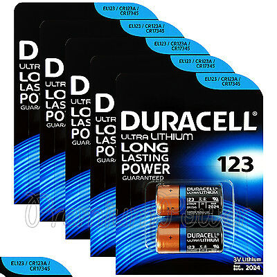 10 x Duracell Ultra Lithium CR123A 3V batteries CR17345 EL123 2 in Pack EXP:2024