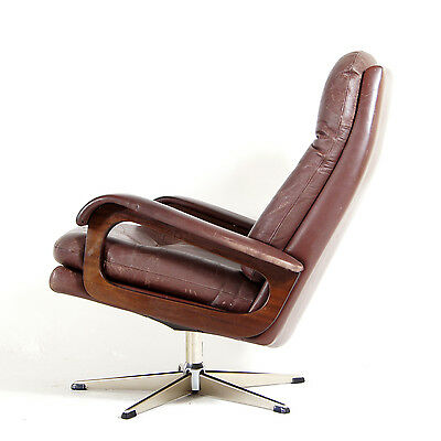 Retro Vintage Danish Leather & Teak Non-Swivel Egg Lounge Chair Armchair 60s 70s