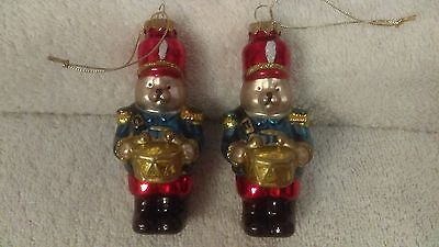 Christmas ornaments set of 2 glass bear soldiers playing drums