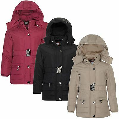 Kids Belted Detach Hood Padded Zip Coat Girls Long Quilted Winter Jacket 3-14 Y