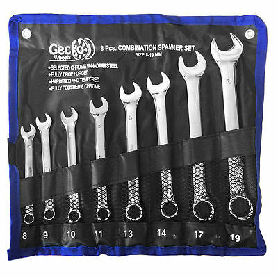 8pc Combination Open & Ring Spanner Wrench Mirror Finish 8-19mm Fully Engineered