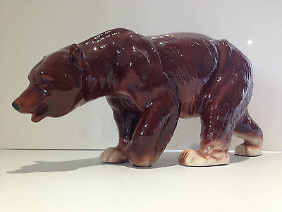 RARE 1950's HUGE 16.5 INCH MELBA WARE BROWN BEAR ANIMAL FIGURINE EX CONDITION