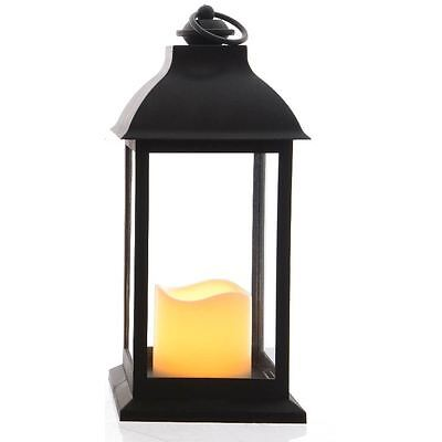 Large Black LED Candle Lantern Glass Container Wedding Hanging Decoration Holder