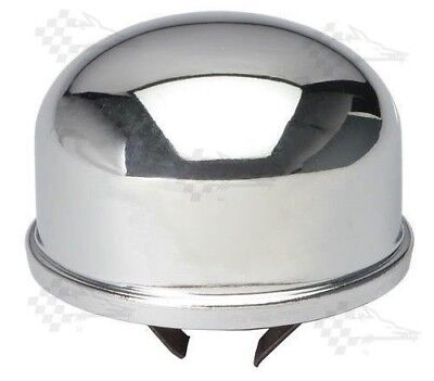Chrome Oil Filler Tube Breather Cap - Early Chevy V8 - Push In / On Style