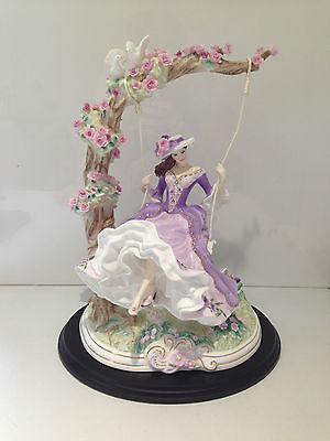 Rare Royal Worcester Limited Edition Summer's Dream Lady Girl On Swing Figurine