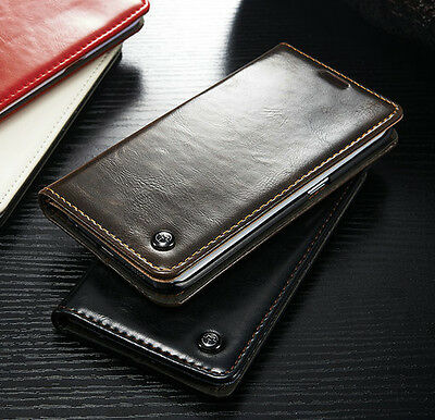 Luxury Leather Wallet Card Holder Flip Case Cover For iPhone Samsung Sony LG