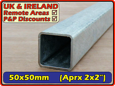 "Galvanised Mild Steel Square Tube (box iron section) 50x50mm (2"") 3mm 