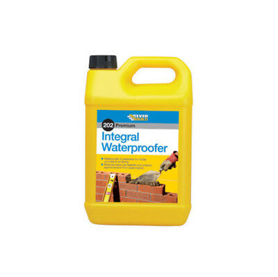 Everbuild 202 Integral Liquid Waterproofer Additive Water Mortar Protection- 5L