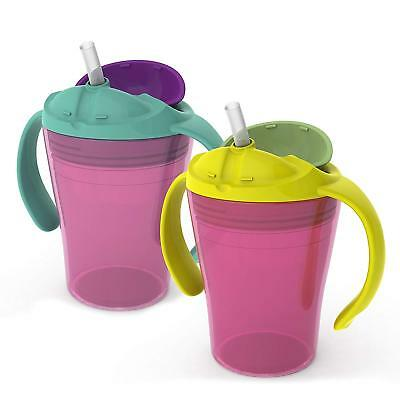 Summer Infant 6 Oz. Summer Training Straw Cup 2 Pk Girly, Spill-proof 48090 NEW