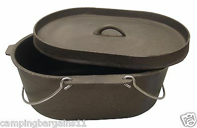 Oval 9 Quart Heavy Duty Cast Iron Dutch Camp Oven Cooking Camping Caravanning
