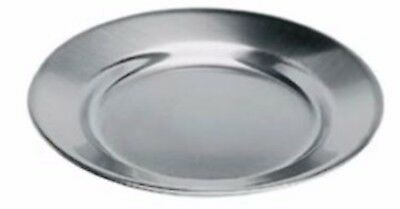 Stainless Steel Dinner Plate 24cm Round Strong Heavy Duty Camping Caravan Picnic