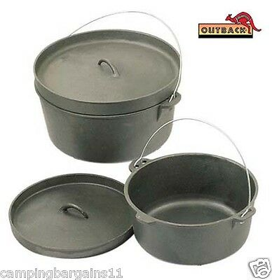 OUTBACK 9 QT Cast Iron Dutch Camp Oven Heavy Duty Camping Cookware Caravan 4WD