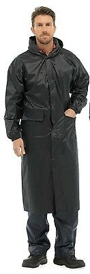 Waterproof Raincoat Long Trench Mac Black Seam Sealed S-XXL Lightweight Unisex