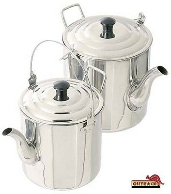 Teapot Billy Camp Kettle Stainless Steel 1.8lt 4 pint 2.8lt 6 pint Camping HDuty