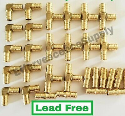 "(30) 1/2"" PEX Brass Fitting 10 EA-Elbow,Coupler, Tee, LEAD FREE - CRIMP FITTINGS"