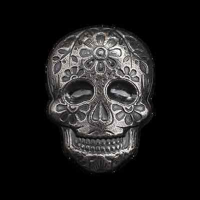 Hand Poured MPM Mint 2 oz .999 Silver Sugar Skull Day Of The Dead USA 3D Bar