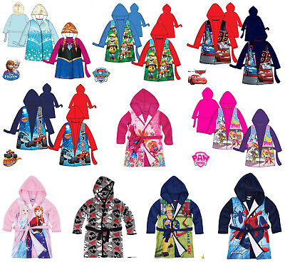 Boys Girls Kids Official Disney Various Soft Dressing Gown Bathrobe Bath Robe