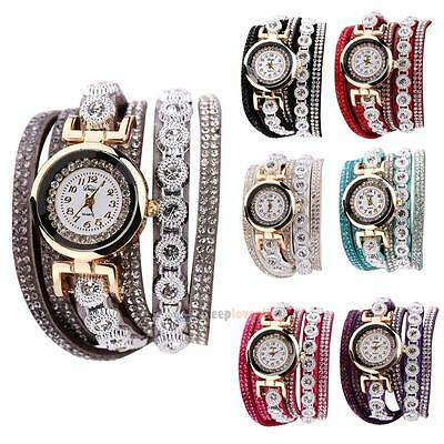 Women Rhinestone Pearl Leather Strap Crystal Bracelet Quartz Wrist Watch Duoya